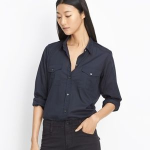 VINCE Blue Military Shirt Button-down